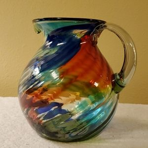 Hand-blown glass large pitcher